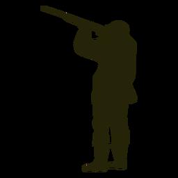 Escopeta de cazador apuntando hacia la izquierda