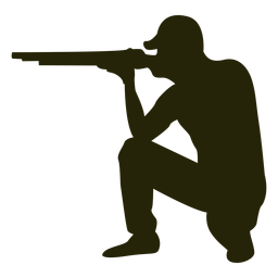 Hunter shotgun voltado para a esquerda e apontando sentado