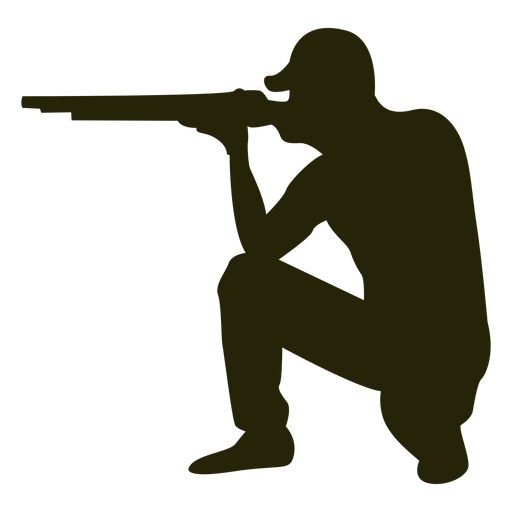 Cazador escopeta hacia la izquierda apuntando sentado
