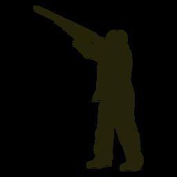 Escopeta de cazador hacia la izquierda apuntando al cielo
