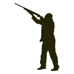 Hunter escopeta izquierda mirando hacia el cielo