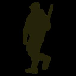 Escopeta de cazador hacia la izquierda caminando