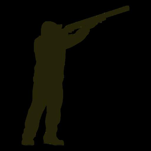 Escopeta de cazador hacia la derecha apuntando al cielo
