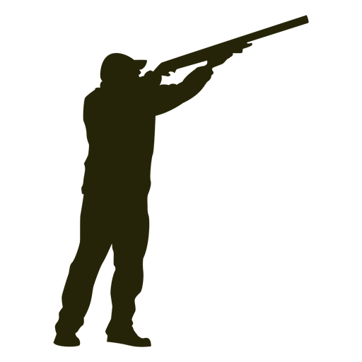 Hunter shotgun right facing aiming sky