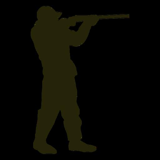 Escopeta de cazador hacia la derecha apuntando de pie