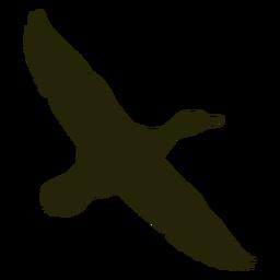 Ganso de caza con alas hacia la derecha extendidas