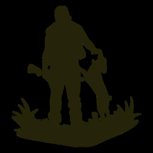 Hunting patting dog