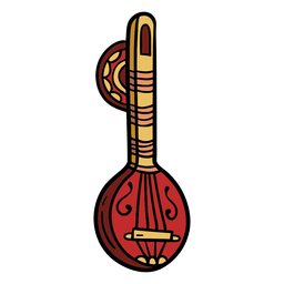 India musical instrument sitar illustration
