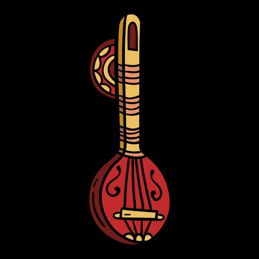 India musical instrument sitar illustration