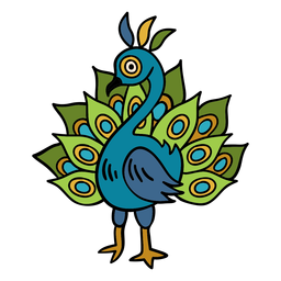 India peacock illustration