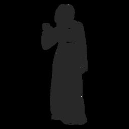 Mulheres islâmicas voltadas para a frente com a mão levantada