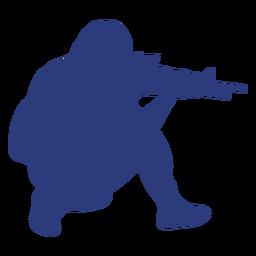 Man rifle right facing ducking aiming