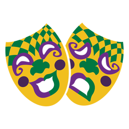 Mardigras face mask happy and sad flat