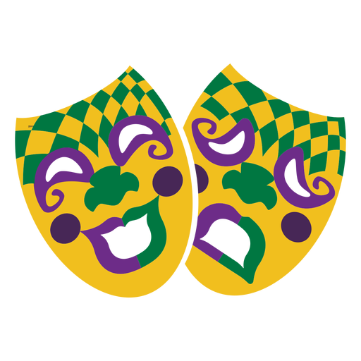 Mardigras face mask happy and sad flat Transparent PNG