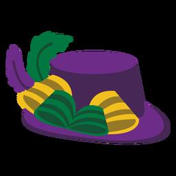 Sombrero Mardigras plumas planas