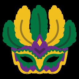 Mardigras máscara de plumas planas