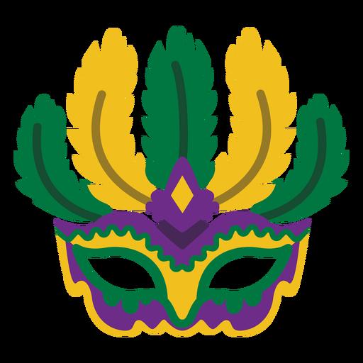 Máscara de Mardigras con plumas planas