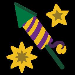 Mardigras foguete fogos de artifício planas