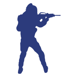 Soldado rifle espalda apuntando silueta