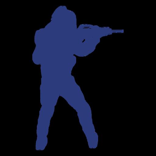 Soldado rifle apuntando hacia atrás silueta