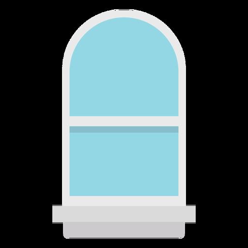 Janela plana em arco azul