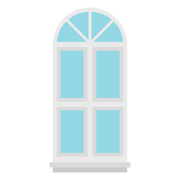 Janela em arco azul duplo painel plano