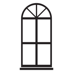 Window arched blue double pane stroke