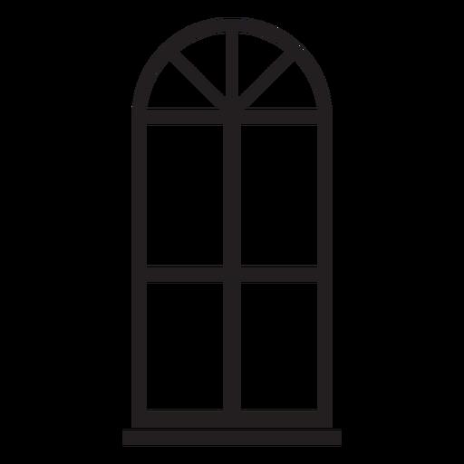 Janela em arco com traço duplo de vidro