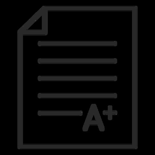 Un trazo de papel de calificación