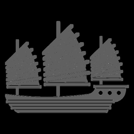 Big red sail ship black