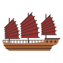 Big red sail ship illustration