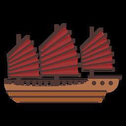 Ilustración de barco de vela roja grande