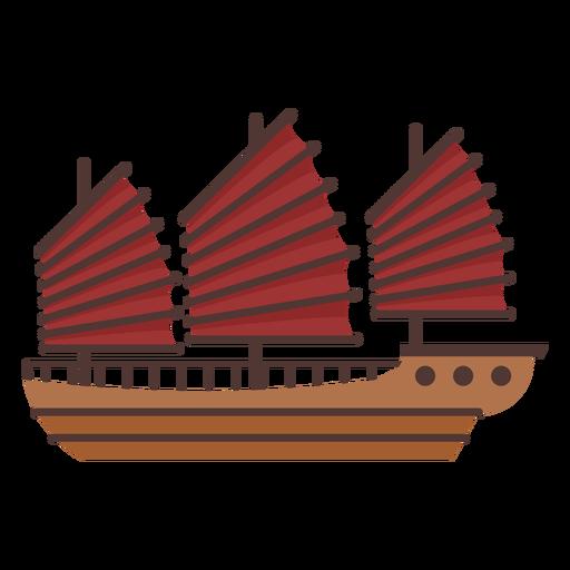 Big red sail ship illustration