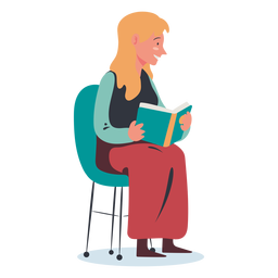 Blonde woman reading character