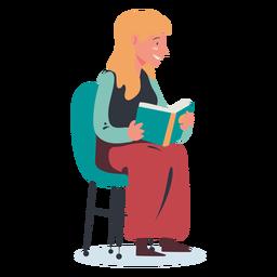 Personaje de lectura de mujer rubia