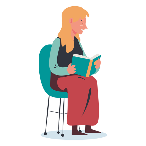 Blonde woman reading character Transparent PNG