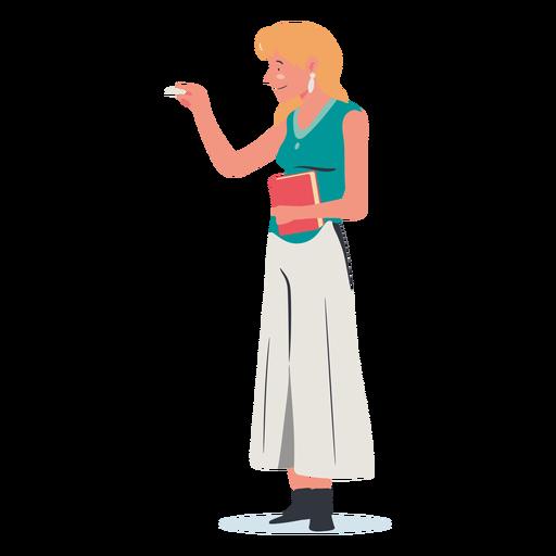 Mujer rubia escribiendo personaje de pizarra Transparent PNG