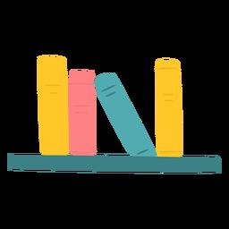 Livros na prateleira plana