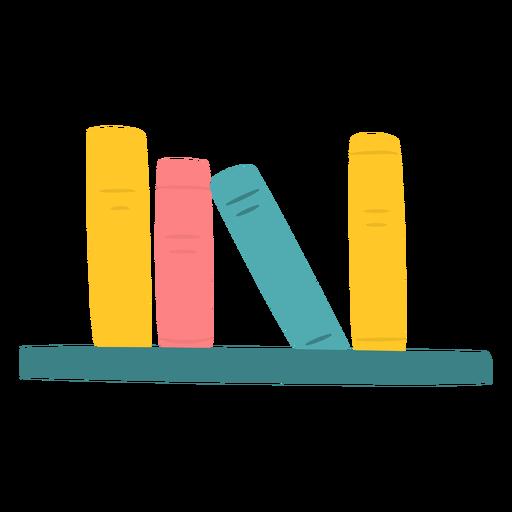 Libros en estante plano