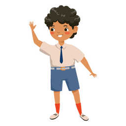 Boy waving character