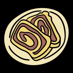 Dibujado a mano rollo de pan