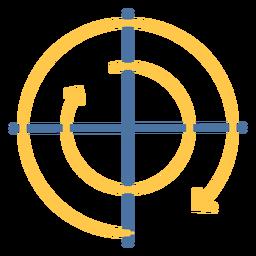 Gráfico de movimiento en sentido horario plano