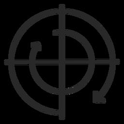 Curso do gráfico de movimento no sentido horário