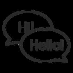 Conversación saludo burbujas trazo