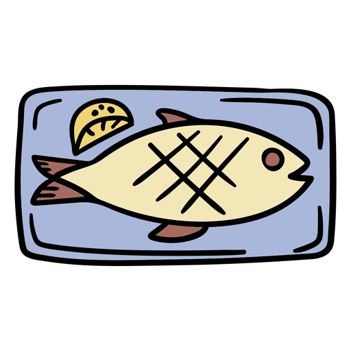 Dibujado a mano pescado cocido