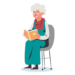 Elderly woman reading character