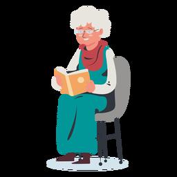 Personagem de leitura de mulher idosa