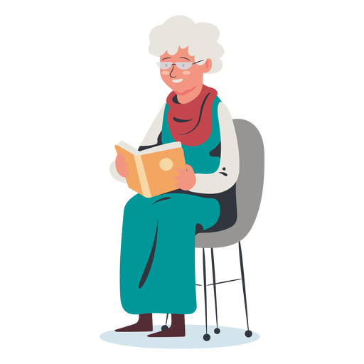 Elderly woman reading character Transparent PNG