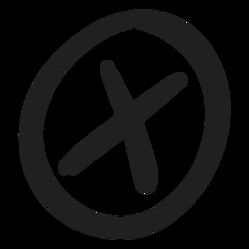 Encircled x mark doodle Transparent PNG
