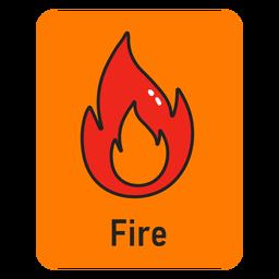 Fire orange flashcard